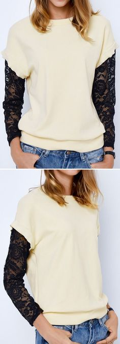 Keep cozy&sassy with $24.99 Only for pre-order! This lace splicing sweatshirt is detailed with candy color&sheer lace sleeve! Take this perfect combination at Cupshe.com