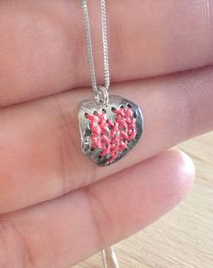 HEART NECKLACE  Valentines Cross stitch heart in sterling by ikcha