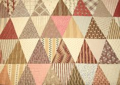 Madder Brown and Civil War Fabrics Joseph's Coat or Triangle 19th Century Antique Quilt Piece - 29 by 18 Inches Plus
