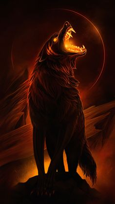 Fenrix is lunar eclipse wolf. He is a death wolf and old Omega of the pack. He is expelled. Fenrix is lunar eclipse wolf. He is a death wolf and old Omega of the pack. He is expelled. Dark Fantasy Art, Fantasy Wolf, Fantasy Kunst, Dark Art, Final Fantasy, Anime Wolf, Artwork Lobo, Wolf Artwork, Demon Wolf