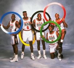 Members of the Dream Team Michael Jordan, Patrick Ewing, Magic Johnson, Karl Malone and Charles Barkley hold up Olympic rings for a portrait in February Team Usa Basketball, Olympic Basketball, Olympic Team, Basketball Pictures, Basketball Legends, Love And Basketball, Olympic Games, Pickup Basketball, Basketball Floor