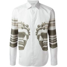 Neil Barrett abstract bust print shirt Auzmendi featuring polyvore, women's fashion, clothing, tops, pattern shirt, abstract print shirts, white shirt, abstract shirts and print shirts
