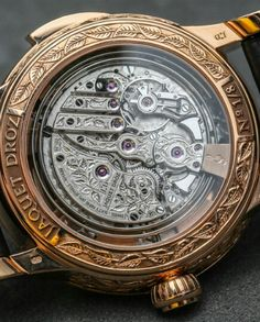 Jaquet Droz Bird Repeater Watch Revisited: A Classic Luxury Of Modern Proportions - reference J031033202 engraved 18k red gold model, Caseback - Contained inside of the Jaquet Droz Bird Repeater is Jaquet Droz's caliber RMA88