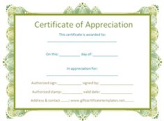 37 best certificate of appreciation templates images on pinterest certificate of appreciation template free certificate templates yelopaper Gallery