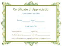 certificate of appreciation template - Free Certificate Templates
