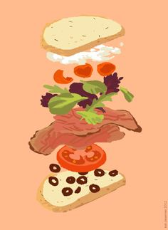 rosemary & olive oil loaf, goat cheese, sliced peppadews, spring mixed greens, roast beef, tomato slice, chopped olives - from Kali Eats