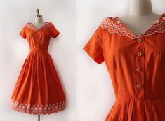 vintage 1950s Jerry Gilden dress // 50s orange cotton day