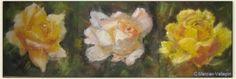 Les trois roses de mon jardin - pastel - 60x36 cm