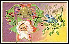 Santa Claus Head in Star Christmas 1915 Postcard