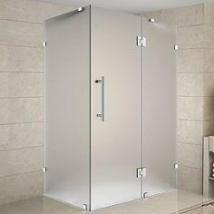 """Aston Avalux 32"""" x 36"""" x 72"""" Completely Frameless Hinged Shower Enclosure, Frosted Glass Finish:"""