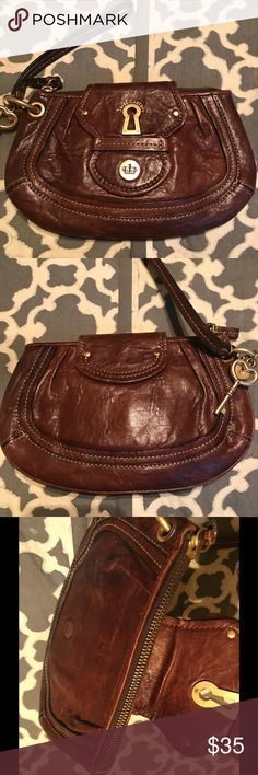 Juicy Couture Brown Leather Wristlet BRAND NEW WITH TAGS ON!!! Juicy Couture Bags Clutches & Wristlets
