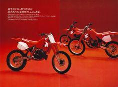 1988 Honda and Motocross Bikes, Vintage Motocross, Honda Motorcycles, Cars And Motorcycles, Japanese Market, Japanese Motorcycle, Good Old Times, Honda Cr, Dirtbikes