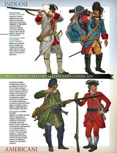 Top Left to Bottom Right; Sergeant Regiment de La Reine, Dragoon of the Corps of Cavalry of Franco Canada, Ranger, Rogers Rangers  Soldier of aVirginian Regiment.