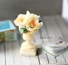 Dollhouse miniature flowers- Summer Rose with calendar by CheilysMiniature on Etsy