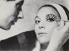 "Elsa Martinelli in futuristic eye makeup by Pablo, Elizabeth Arden's ""Face Designer,"" 1965"