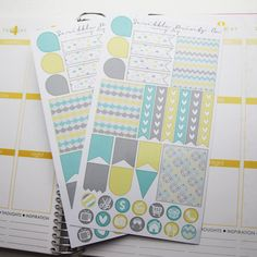 Includes one sheet of glossy die-cut stickers!    Colors are selected to match the color palette in Erin Condren Life Planners!    Stickers vary