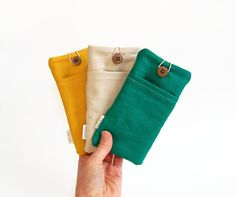 Canvas phone case with frontpocket, custom made to any size. The phone pouches…
