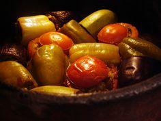 libyan food: Mixed Stuffed Vegetables: Tajin Mahshi محشي مشكل