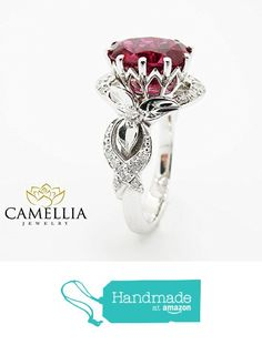 Natural Oval Ruby Engagement Ring Unique White Gold Ring Flower Design Custom Ring with Natural Side Diamonds. White Gold Ruby Ring, Rose Gold Diamond Ring, Rose Gold Engagement Ring, Diamond Wedding Rings, Bridal Rings, Morganite Engagement, Gold Wedding, Unique Rings, Beautiful Rings