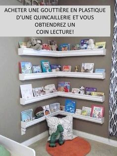 Book shelves made out of vinyl gutters.who would have thought? terpsgirl Book shelves made out of vinyl gutters.who would have thought? Book shelves made out of vinyl gutters.who would have thought? Gutter Bookshelf, Corner Bookshelves, Bookcases, Kids Book Shelves, Wall Shelves, Book Storage Kids, Custom Bookshelves, Creative Bookshelves, Display Shelves