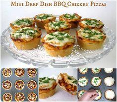 Mini Deep Dish BBQ Chicken Pizzas
