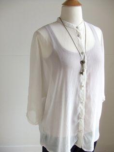 Dolman Sleeve Translucent OffWhite Blouse by AtelierToiToiToi, $60.00