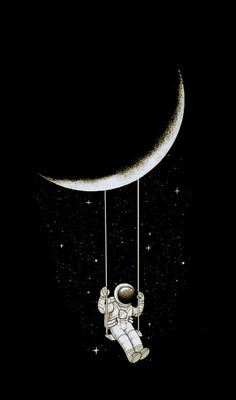 No idea of the artist, but SO cute! Wallpaper Space, Galaxy Wallpaper, Cartoon Wallpaper, Wallpaper Backgrounds, Iphone Wallpaper, Backrounds, Skull Art, Stars And Moon, Disney Art