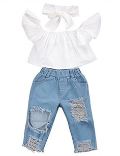 3caee1e68bc03 CaNIS 3pcs Baby Girls Kids Off Shoulder Lotus Leaf Top Holes Denim Jeans  Headband Outfits Set