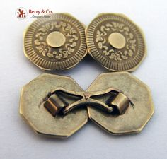 Vintage Engine Turned Octagonal 10K Yellow Gold Cufflinks 1920