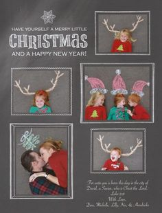 Merry Christmas! Photo Christmas card. Sidewalk chalk