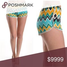 Mini Pom Pom Aztec Tribal Print Shorts Mini Pom Pom Tribal Shorts. Super cute for Summer!  Polyester/Spandex.  Inquire for measurements!  These are so cute and fun, a must have! Shorts