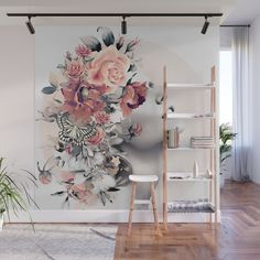 Bloom 7 Wall Mural by Cool Room Designs, Flower Mural, Salon Art, Mural Wall Art, Spa, Home Decor Accessories, Watercolor Flowers, Wall Prints, Decorating Your Home