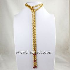 """C0022 50"""" freshwater golden rice pearl necklace with red jade"""