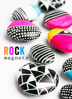 Keep kids of all ages busy on a rainy spring day with this DIY painted rock magnet project.