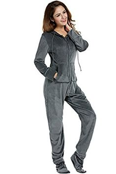 HOTOUCH Women's Coral Cashmere Onesie with Hooded Footed Jumpsuit Pajamas S-XL at Amazon Women's Clothing store:
