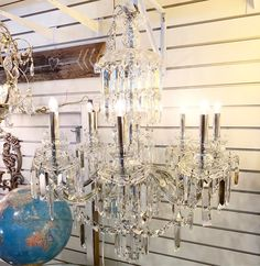 Shiny shiny chandelier! In my booth now at @curiositiesvintage