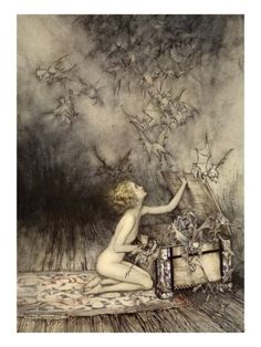 A Sudden Swarm of Winged Creatures Brushed Past Her Stampa giclée di Arthur Rackham su AllPosters.it