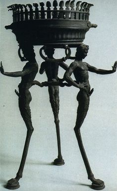 Three slender ithyphallic fauns supporting a basin, found in a house in Pompeii. Three slender ithyphallic fauns supporting a basin, found in a house in Pompeii. Ancient Rome, Ancient History, Art History, Art Romain, Pompeii And Herculaneum, Pompeii Italy, Ancient Civilizations, Ancient Mesopotamia, Ancient Artifacts