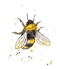 Watercolor Cards, Watercolor Paintings, Bee Painting, Rock Painting, Watercolour, Bee Crafts, Rock Crafts, Bee Art, Bees Knees