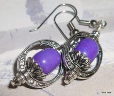 Aphrodite Purple Howlite Earrings by TahitiTime on Etsy $14.00
