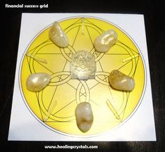 This financial success grid is to help anyone working on this intention. Sunday is a good day to work on anything you wish to succeed at. Although I used one of our grid kits, you can also create this grid without it. The center stone can be Clear Quartz, Pyrite, Green Adventurine or any other crystal/mineral that brings to mind prosperity. Clear Quartz - http://www.healingcrystals.com/advanced_search_result.php?dropdown=Search+Products...&keywords=Clear+Quartz+ Code HCPIN10 = 10% off