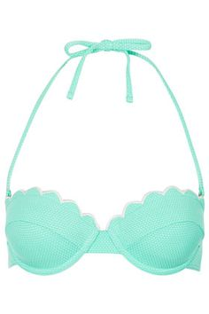 TOPSHOP #Mint Scallop Bikini Top