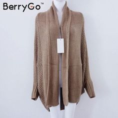 Oversized Batwing Sleeve Knitted Cardigan Sweater Women Fashion ...