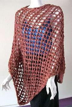 Open Mesh Poncho Knitting Pattern - free from www.knittingonthenet.com