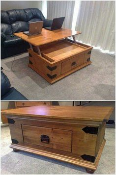 Coffee table that pops up into a desk! Love it!