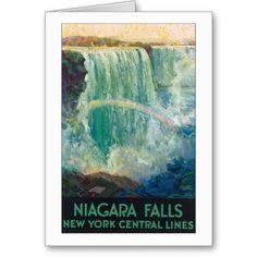 Niagara Falls Vintage Travel Poster Cards #greetingcards #birthday #anniversary #wedding