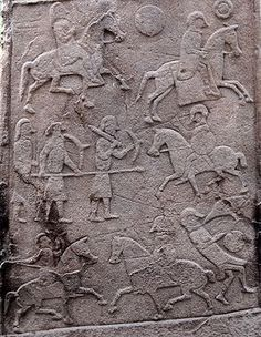 """Pictish Stone at Aberlemno Church Yard - Battle Scene. The Battle of Dun Nechtain or Battle of Nechtansmere (Scottish Gaelic: Blàr Dhùn Neachdain, Old Irish: Dún Nechtain, Old Welsh: Linn Garan, Old English: Nechtansmere) was fought between the Picts, led by King Bridei Mac Bili, and the Northumbrians, led by King Ecgfrith on 20 May 685."" Wiki; Battle of Dun Nectain"