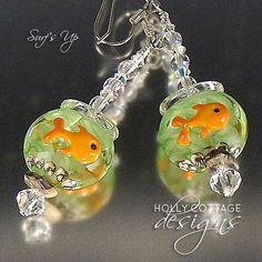 Artisan crafted goldfish bowl lampwork and crystal earrings - for sale on Ruby Lane