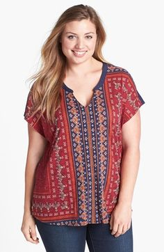 Lucky Brand 'Folklore' Print Top (Plus Size) Sara Fashion, Grunge Fashion, Plus Size Tops, Plus Size Outfits, Lucky Brand, Plus Size Fashion, Nice Dresses, Stitch Fit, Clothes For Women