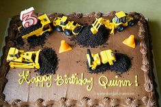construction cake a chocolate sheet cake from Costco . Construction Birthday Parties, 3rd Birthday Parties, Birthday Fun, Construction Theme Cake, Birthday Ideas, Digger Birthday Cake, Third Birthday, Birthday Cake Kids Boys, Digger Cake